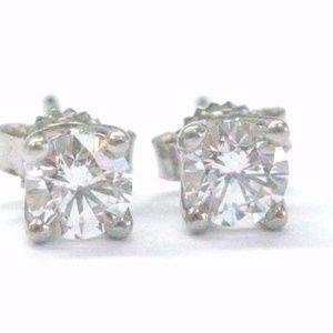 Fine Round Cut Diamond Stud White Gold Earrings 4-