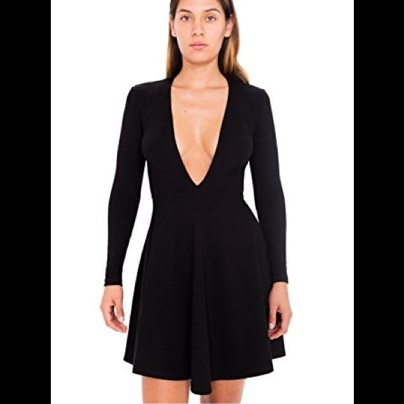 4d7cd07eb4af NWT American Apparel Deep V Neck Skater Dress Sz L