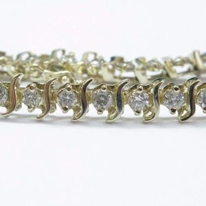 Fine Round Cut Diamond Tennis Bracelet Yellow Gold