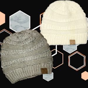 Boho C.C. Beanie Bundle- Cream + Grey/Silver Knit