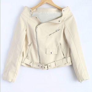 Faux leather off the shoulder jacket
