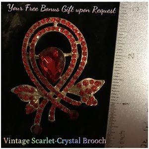 Free Option: Ruby-Red Crystal Brooch, Vintage