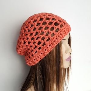 Crochet Salmon Cotton Beanie