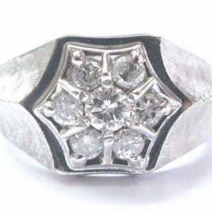 Fine Men's Round Cut Diamond Cluster White Gold Je