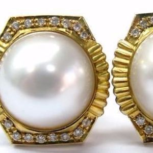 Fine Mabe Pearl Diamond Yellow Gold Earrings 14K 1