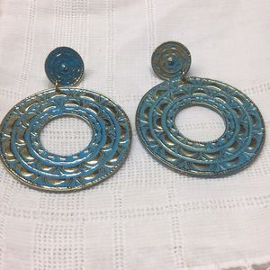 Teal and Gold Tone Pierced Earrings