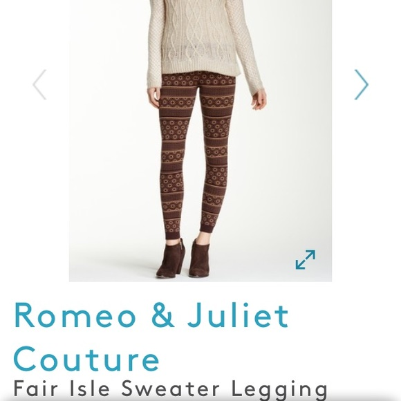 86% off Pants - ❄ 🆕 Romeo + Juliet Couture Fair Isle Leggings ...