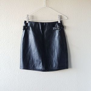 H&M Divided Faux Leather Buckle Skirt