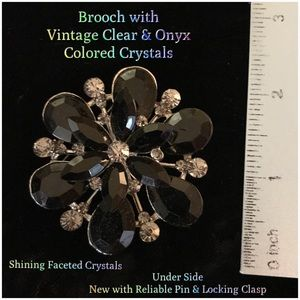 Jewelry - Free Option: Faceted Crystal-Rhinestone Brooch
