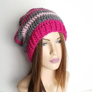 Crochet Grey and Pink Slouchy Hat, Beanies