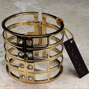 bebe gold cuff bracelet with crystal NWT bbb09