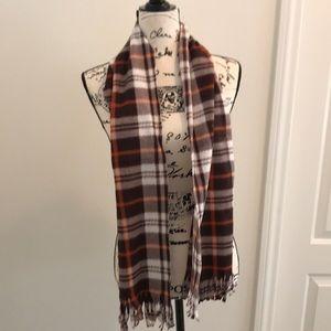 Unisex brown plaid scarf 60X12 NWOT