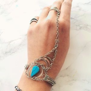 Free People Turquoise Artsy Bracelet  Ring Chain
