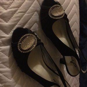 Black satin size 8 M shoes