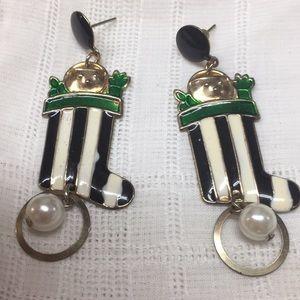 Christmas Stocking Pierced Dangle Earrings