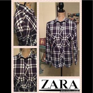 Zara Plaid Long Sleeve Snap Button Down Shirt