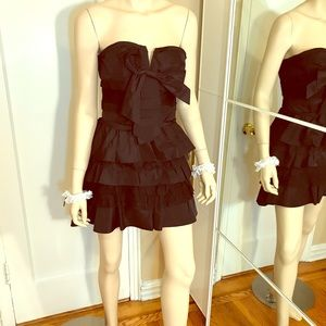 Bebe Black Ruffle Bow Cocktail Dress Size Small