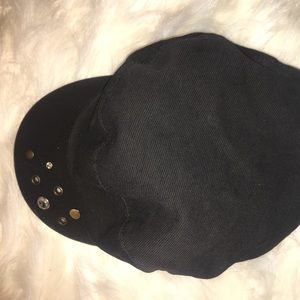 Black Bejeweled Cap