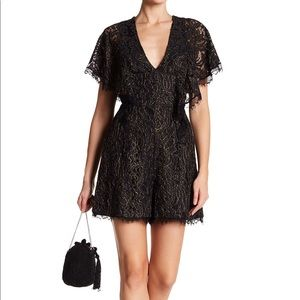 🆕Dress The Population Raven Lace Romper Black NWT