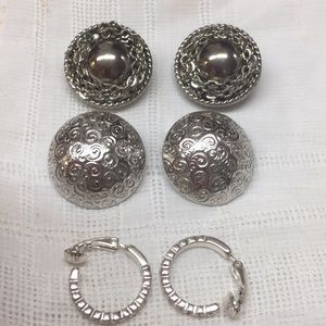 Bundle of Three Silver Tone Clip Earrings