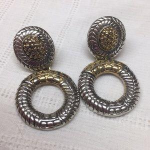 Silver Tone Gold Tone Pierced Earrings