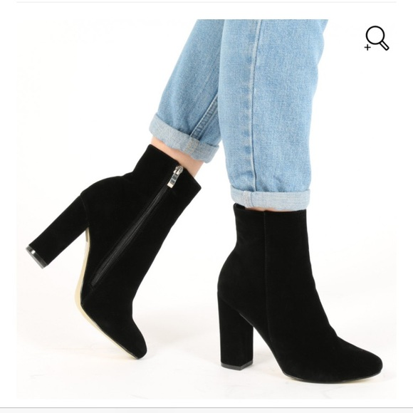 0d5ce3a7363 Presley Ankle Boots in Black Faux Suede