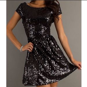 SNAP Black Sequin Holiday Party Mini Dress