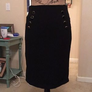 Forever 21 Black Skirt With Black & Gold Buttons