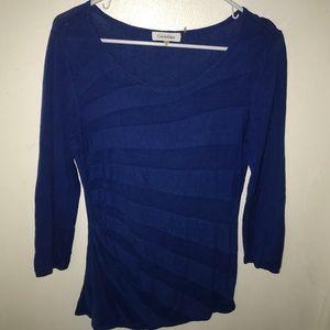 Blue Calvin Klein knit 3/4 sleeve blouse