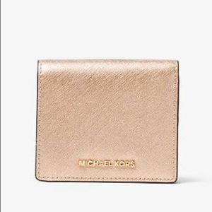 NEW Michael Kors Gold Jet Set Foldover Wallet