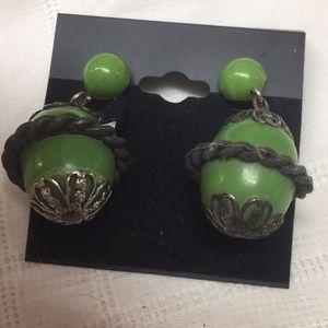 Green Vintage Dangle Clip Earrings
