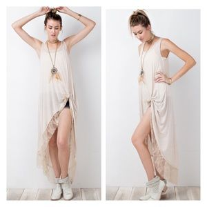 Lace trim knotted front maxi tunic