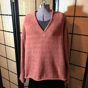 J Jill size L dark peach chenille v-neck sweater