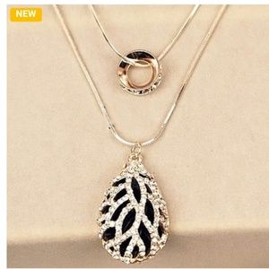 Crystal Rhinestone Double-deck Sweater Necklace