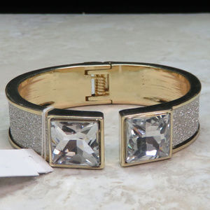 bebe gold and silver cuff with crystal NWT bbb13