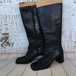 Nine West black leather square toe boots sz 10