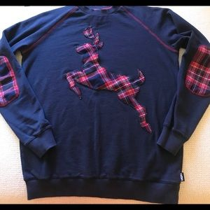 Plaid deer sweatshirt with elbow patches