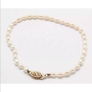 Jewelry - 14K Yellow Gold Genuine White Pearl Bracelet
