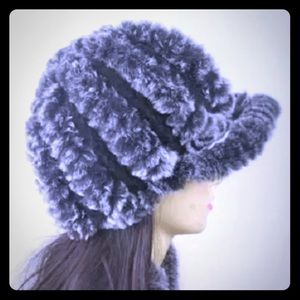 Real Rex Rabbit Fur Knitted Beanie Hat Ball Cap