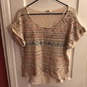 Cream sweater with sheer back