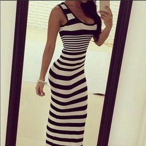 Dresses & Skirts - Black and white striped maxi dress