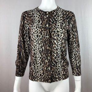 J Crew Cardigan Size L Leopard Print Button Front