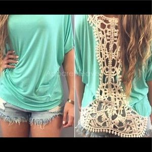 Tops - Teal top with knit lace back.