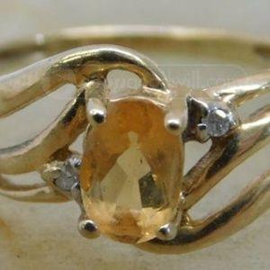 Vintage 14k Gold and Citrine Ring Sz 3 1/2
