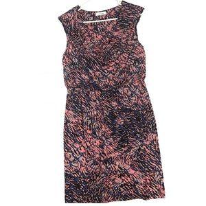 Calvin Klein Jersey Blouson Dress Blue Gray Pink
