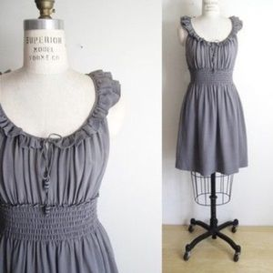 {Anthropologie} Floreat 100% silk gray dress