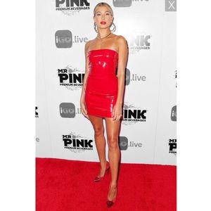 Red Latex Mini Dress Hailey Baldwin