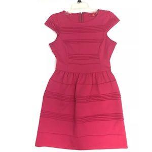 Elle Cap Sleeve Ponte Fit & Flare Dress in Pink