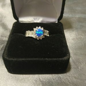 .925 Stamped Blue Fire Opal Ring sz 7