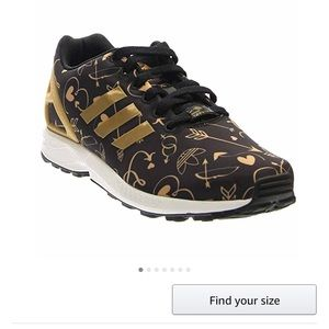 adidas zx flux black and gold womens. LIKE NEW Adidas ZX Flux Black With Gold Hearts Zx And Womens L